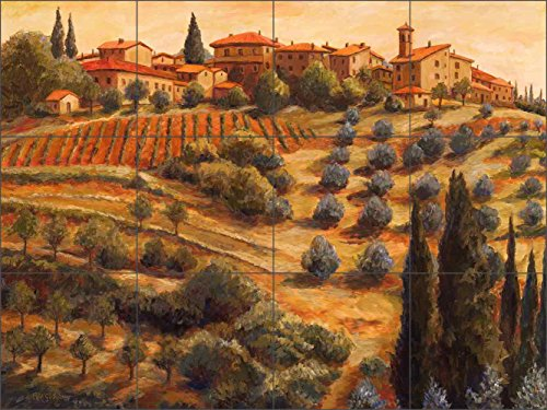 Tuscan Tile Mural Backsplash - Chianti Sunset By Mikki Senkarik Ceramic Kitchen Shower Bathroom (24