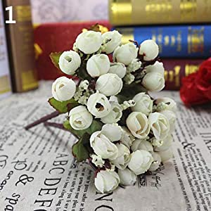 Aland Sweet Artificial Rosebud Bouquet Home Wedding Cloth Rose 15 Flowers on 1 Piece 33