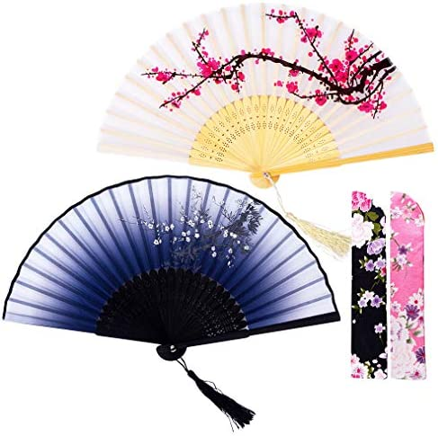 "Amajiji 2Pc Hand Held Folding Fans for Woman, 8.27"" Charming Bamboo Silk Folding Fan with Delicate Sleeve, Perfect for Decoration Wedding Party Gift Festival and Fanning (White & Gray Plum Blossom)"