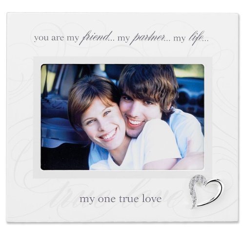 Lawrence Frames 6 by 4-Inch Ivory Wood True Love Picture Frame, Silver Heart Ornament with Crystals -