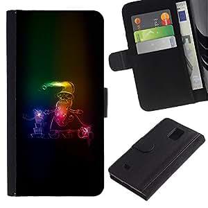 For Samsung Galaxy Note 4 SM-N910,S-type® Santa Claus Neon Winter Christmas Sleigh - Dibujo PU billetera de cuero Funda Case Caso de la piel de la bolsa protectora