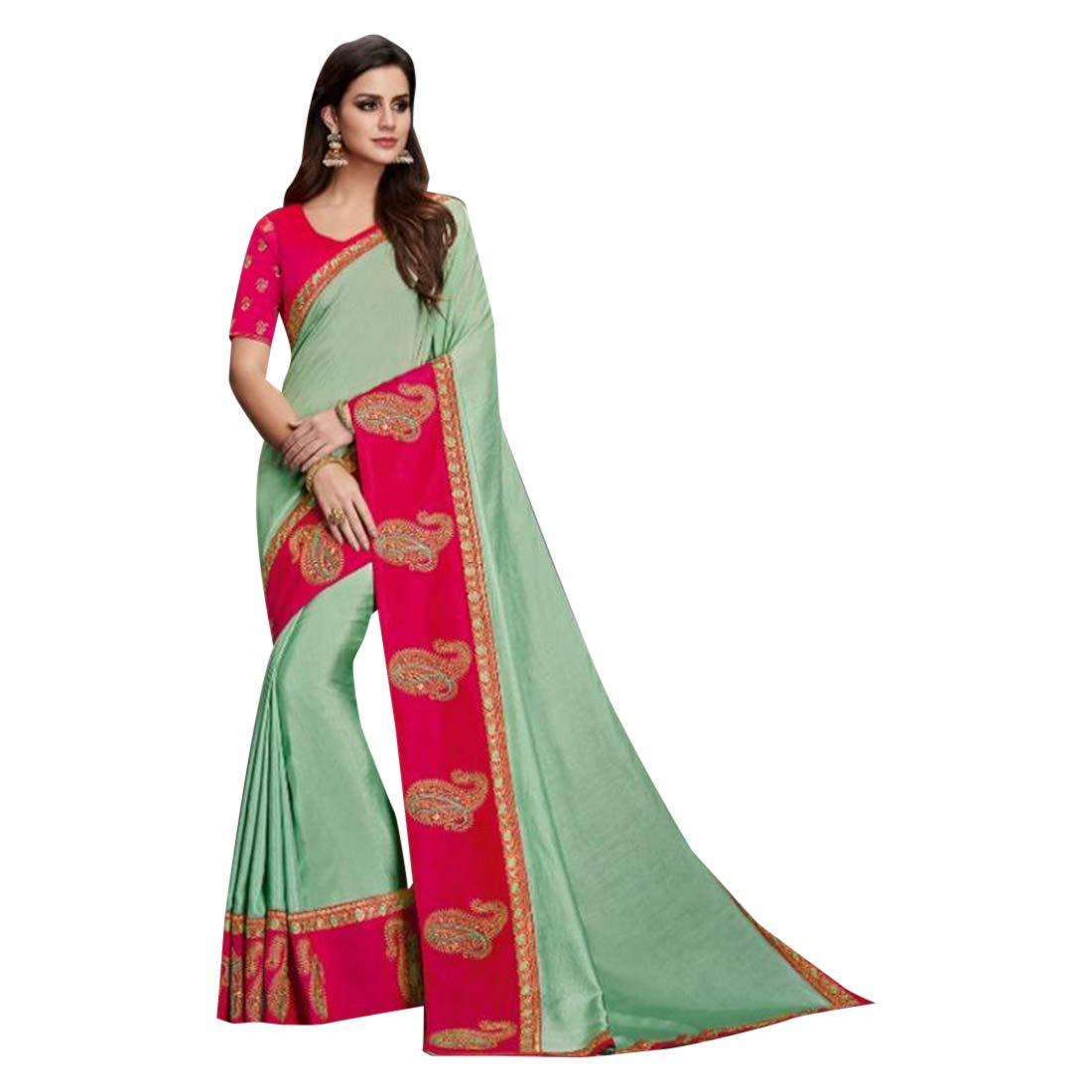 Mint Green Paisley Border Saree Blouse Evening Wear Party Sari 7493