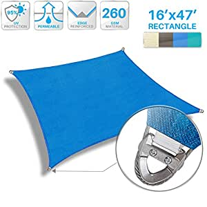 Patio Large Sun Shade Sail 16' x 47' Rectangle Heavy Duty Strengthen Durable Outdoor Canopy UV Block Fabric A-Ring Design Metal Spring Reinforcement 7 Year Warranty -Blue