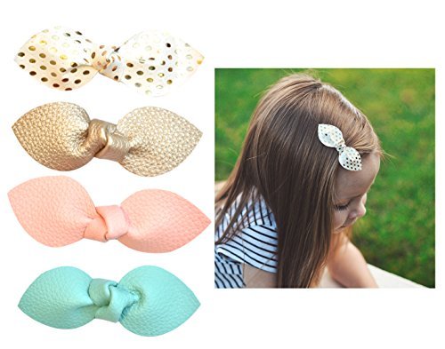California Tot Premium Faux Leather Bow Hair Clips for Toddler, Girls, Mixed Set of 4