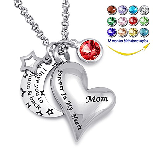 YOUFENG Urn Necklaces for Ashes I Love You to the Moon and Back for Mom Cremation Urn Locket Birthstone Jewelry (July urn necklace) by YOUFENG