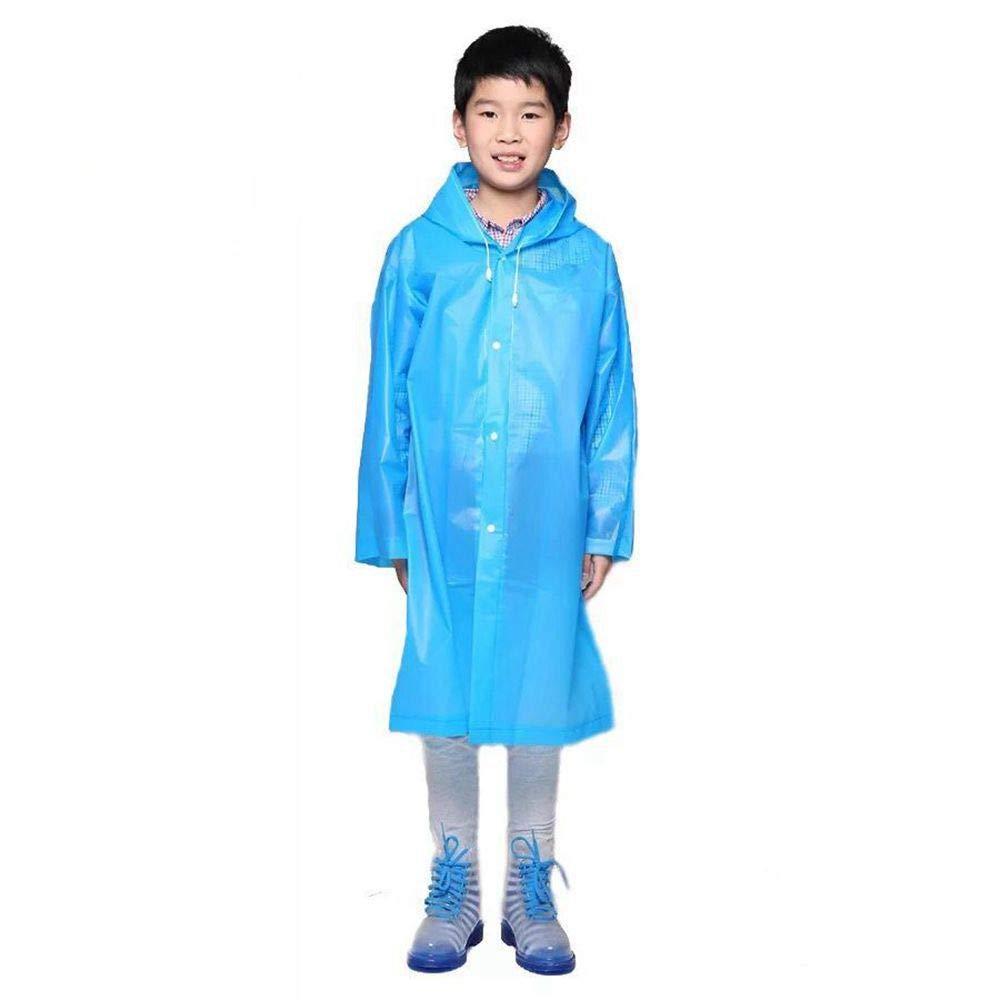 Lightweight Durable Raincoat Waterproof Rain Poncho EVA Rain Jacket With Hood and Sleeves Outdoor Hiking Rainwear For Adults &  Kids (Kids, Blue)