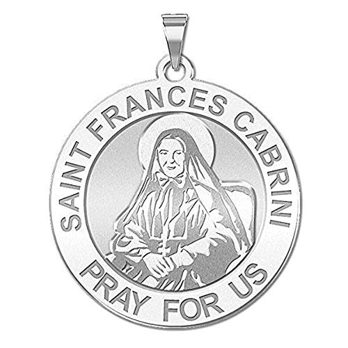 PicturesOnGold.com Saint Frances Cabrini Religious Medal - 1 Inch Size of a Quarter - Sterling Silver with Engraving
