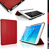 """iGadgitz Premium Red PU Leather Smart Cover Case for Samsung Galaxy Tab A 9.7"""" SM-T550 with Multi-Angle Viewing stand + Auto Sleep/Wake + Screen Protector"""