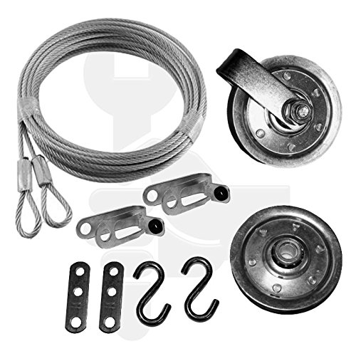 Garage Door Pulley and Safety Cable Complete Garage Door Set For Ext Springs