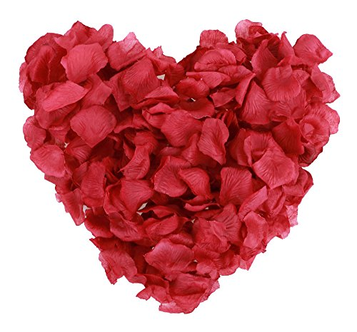 Jasmine 1000 Pieces Dark Red Non-woven Rose Petals Artificial Flower Petals for Wedding Confetti Valentine Day Flower Décor