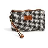 Wristlet Wallet Clutch - Phone Purse Handbag - Small Size - Black & Gray Herringbone Style - Funky Monkey Fashion (Medium)