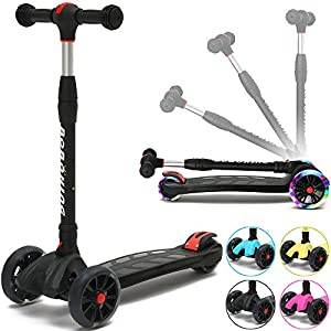 BOBOKING Kick Scooter For Kids, 3 Widening PU Flashing Wheels, Adjustable Height Kids Scooter with a Folding System, Best Gifts for Kids from 3 to 17 Year-Old, Surface Balance Technology