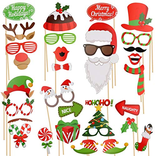 Sugoiti Christmas Photo Booth Props 32 Pieces DIY Kits Dress-up Decoration 2018 2019 Years Party Eve Decorations Glasses Moustache Red Lips Deer Horn Santa Hat