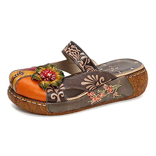 Women's Leather Slipper Ladies Summer Slip on Flat Sandals Vintage Colorful Flower Backless Loafer Shoe Grey 7.5 B(M) US
