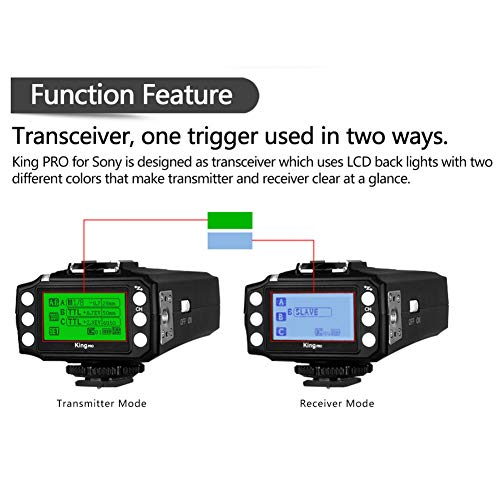 Pixel King Pro Flash Trigger,1/8000s 2.4Ghz,TTL HSS LCD Screen,Transceivers with PC Port for Sony Mi Shoe Cameras A7 A7R A7RII A6300 A65 A77II RX10III and Strobe Studio Light by PIXEL (Image #3)