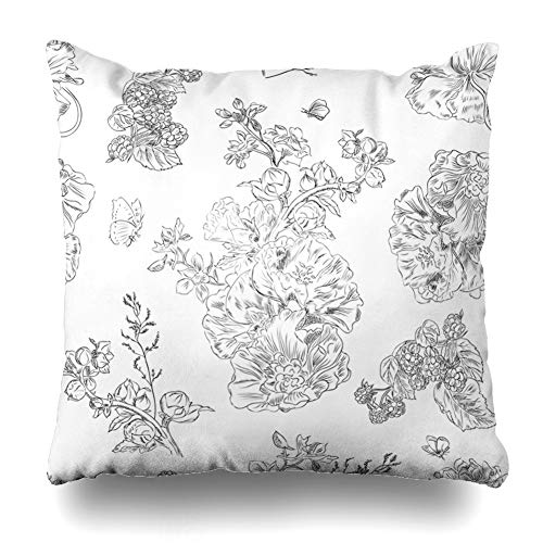 Ahawoso Throw Pillow Cover Jouy Floral Pattern Peony Raspberries Black De Line On White Vintage Toile Nature Design Upholstery Zippered Pillowcase Square Size 18 x 18 Inches Home Decor Pillow Case