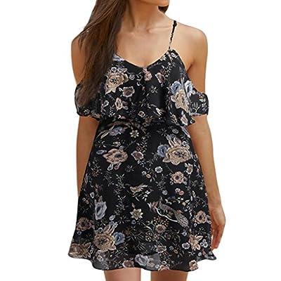 MOKAO Women Casual Beach Dress Short Strap Mini Dress V Neck Halter Floral Print Backless Maxi Skirt