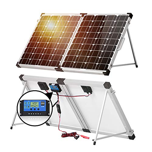 DOKIO 100w 50×2 12v Monocrystalline Foldable Solar Panel, Portable Folding Solar Panel Suitcase with Charge Controller