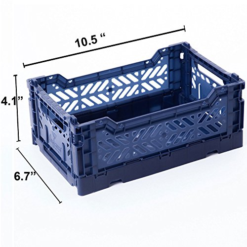 AY-KASA Collapsible Storage Bin Container Basket Tote , Folding Basket CRATE Container : Storage , Kitchen , Houseware Utility Basket Tote Crate Mini-BOX ( NAVY )