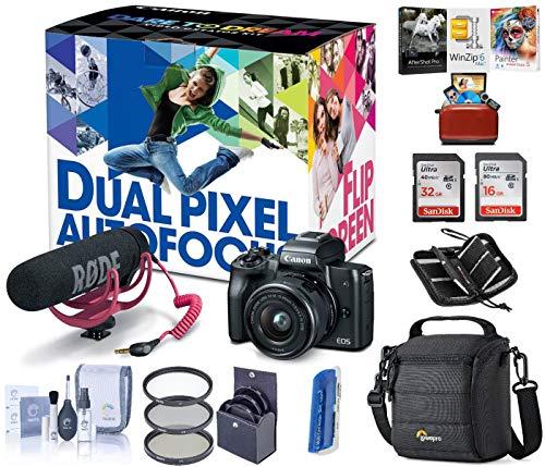 Canon EOS M50 Mirrorless Camera Video Creator Kit w/EF-M 15-45mm Lens, Black, Bundle with Rode VideoMic GO, Cam Bag, 32+16GB SD Card + Case, Filter Kit, Cleaning Kit, Mac Software Kit, Card Reader