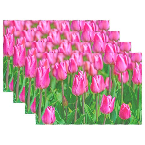 Placemats Field with Tulips Polyester Printing Rectangular Placemats Washable Non-Slip Heat Resistant Kitchen Table Mats Set of 6