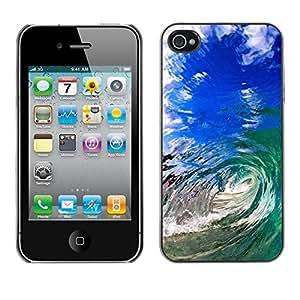 Cubierta de la caja de protección la piel dura para el Apple iPhone 4 / 4S - summer sun sea wave teal blue hawaii