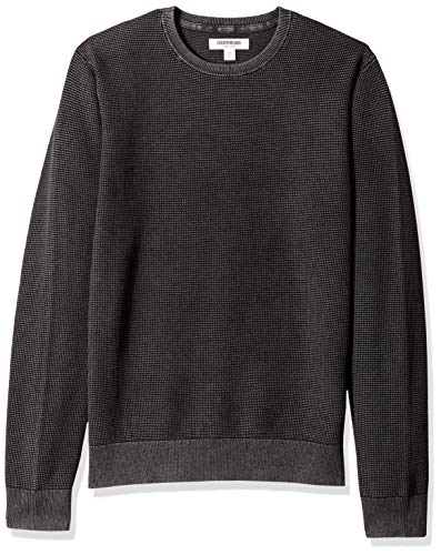 Goodthreads Men's Soft Cotton Thermal Stitch Crewneck Sweater, Washed Black, Large ()