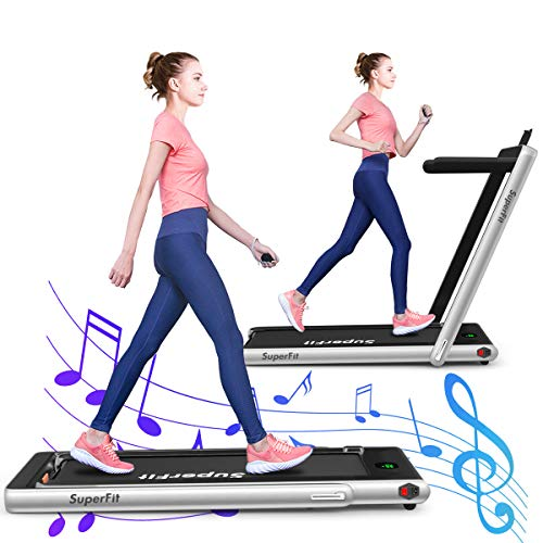 GYMAX Under Desk Treadmill, Installation-Free Motorized Running/Jogging Machine with Bluetooth & LED Display, Multifunctional Folding Treadmill for Exercise, Workout, Home Office Space Saver (Silver)