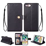 Ostop iPhone 8 Case,iPhone 7 Leather Wallet Case,Black Classic Oil Wax PU Stand Purse Credit Card Slots Holder Flip Stylish Simple Cover with Retro Metal Clasp for iPhone 7/8 4.7 inch