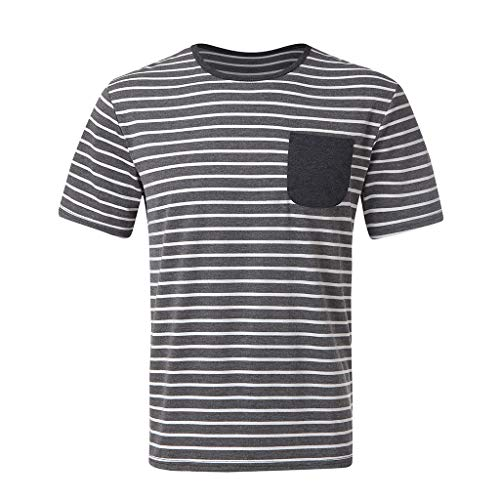 (2019 Shirts Deals ! Stylish Men's Matching Striped Pocket Pants Short Sleeved Shorts Pajamas Suit)
