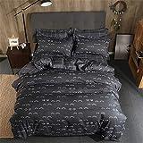 Stripes Duvet Cover Flat Bed Sheets Pillowcase King Queen Full Single Bedding Set Bed Sets Cover Set Black 180x220cm