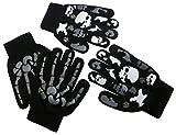 N'Ice Caps Boys Magic Stretch Glove 2 Pair Pack Assortment (6-12yrs, black/grey)