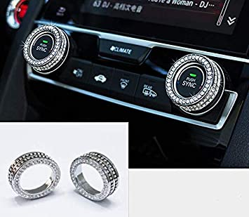 HAILWH Fit for Toyota Cars Steering Wheel Sign Logo Upgrade Retrofit Rhinestone Crystal Decorative Sticker Decal Cover Silver