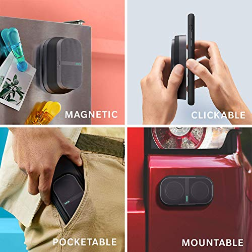 POW Mo Collapsible Magnetic Bluetooth Speaker - 8-Hour Playtime, 10W & 100ft Range | Wireless Stereo Pairing, Water Resistant for Indoor/Outdoor Use | Click Mount & Wallet Included [Graphite]