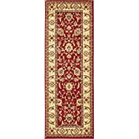Unique Loom Agra Collection Red 2 x 6 Runner Area Rug (2 2 x 6)