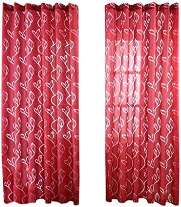 Bubble Leaves Design Tenda Tendina Pannello di Finestra Drappi Sheer Decorazione per Porte Finestre Camere – Rosso, 100 * 270cm