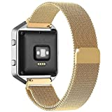 Fitbit Blaze Accessories Band Large, UMTele Plexus Milanese Loop Stainless Steel Mesh Bracelet Replacement Strap Band with Unique Magnet Lock for Fitbit Blaze Smart Fitness Watch Gold (6.1