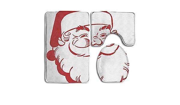 Navidad Papá Noel 3 piezas Super de peluche baño Rugs Set antideslizante anti ácaros alfombrilla de baño ducha en forma de U Tapa para inodoro suelo: ...