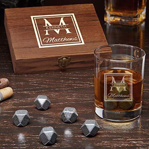 (Oakhill Personalized Black Onyx Whiskey Stones Set with Eastham Glass (Custom Product))