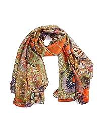 Mapletop Women Girl Chiffon Printed Silk Long Soft Scarf Fashion Shawl (Orange)