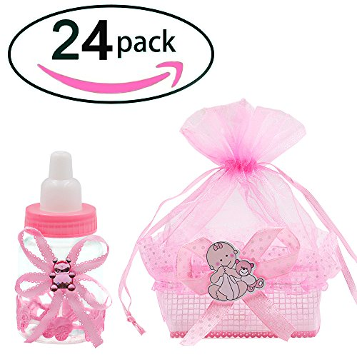 Noex Direct 24pcs Candy Bottle Gift Box and Organza Baby Shower Sheer Gift Bag Baby Shower Supplies for Baby Parties Birthday (Pink) ()