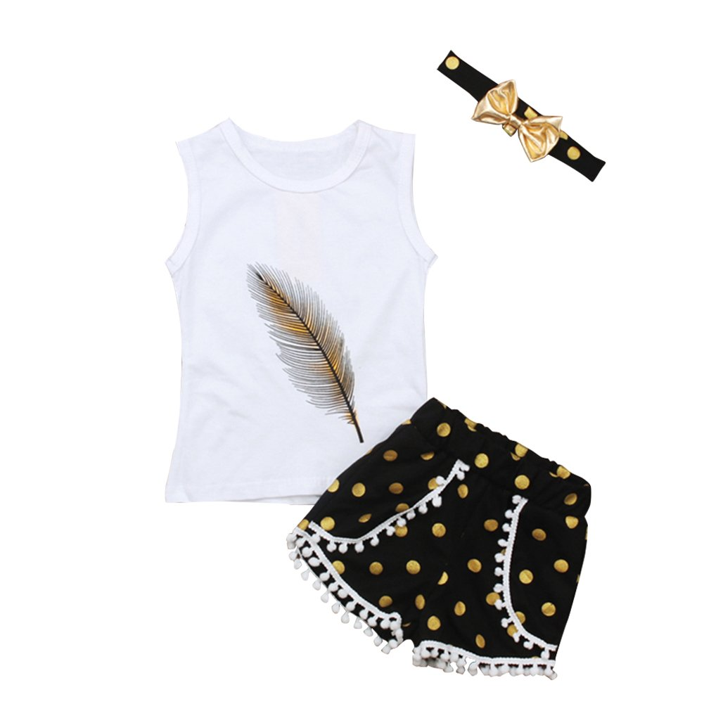 KIDSA 1-5T Toddler Baby Little Girls Summer Clothes Tank Top + Pompon Tassel Shorts 3Pcs Cute Outfits Sets with Headband