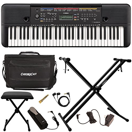 Yamaha PSR-E263 61-Key Portable Keyboard with Keyboard Stand and Accessories