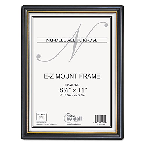 NuDell 11880 EZ Mount Document Frame with Trim Accent, Plastic, 8-1/2 x 11, Black/Gold