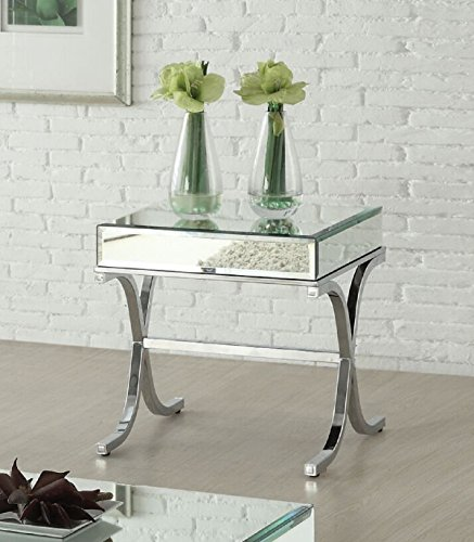 H Contemporary Style Mirrored Top Chrome Finish Living Room End Table ()