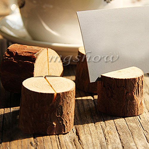 10pcs Wooden Base Wedding Table Number Stand Place Name MEMO Card Holder Decor