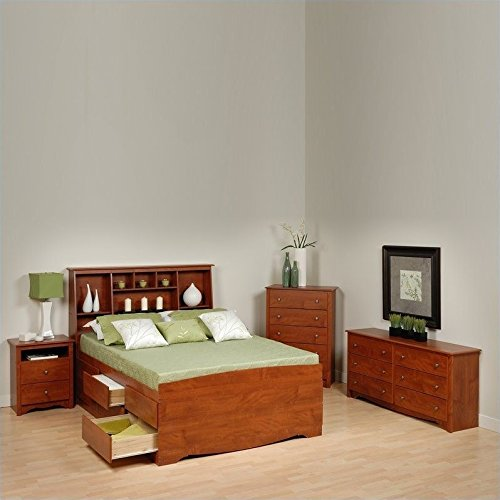Shaker Style Double Dresser (Prepac Monterey Cherry Tall Full Wood Platform Storage Bed 4 Piece Bedroom Set)