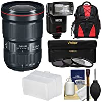 Canon EF 16-35mm f/2.8L III USM Zoom Lens with 3 Filters + Backpack + Flash + Diffuser + Kit