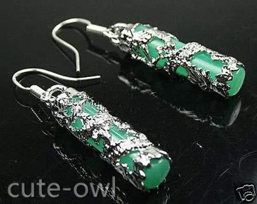 FidgetKute 925 Sterling Silver Hook Natural Green Jade Dragon Hook Earring