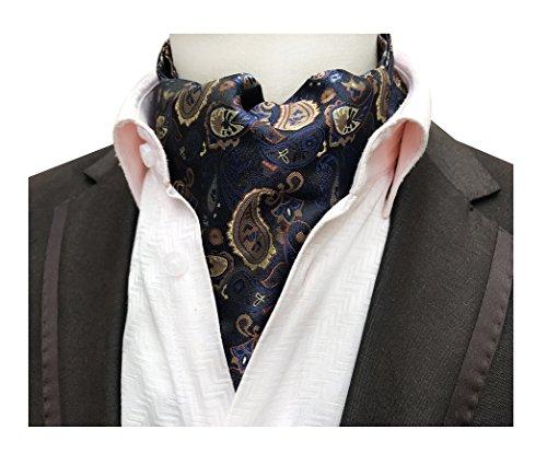Men's Navy Blue Gold Brown Bronze 100% Silk Jacquard Woven Self Cravat Tie Ascot by Secdtie